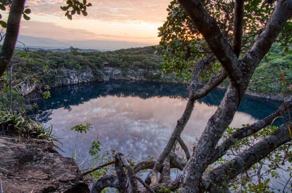 Sunset over Cenotes de Candelaria